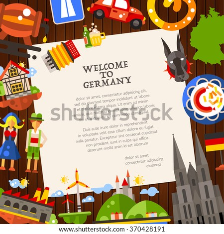 Welcome to Germany - vector flat design Germany travel postcard template with icons and infographics elements of famous German symbols  - stock vector