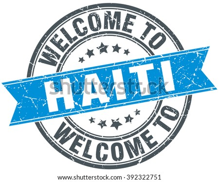 welcome to Haiti blue round vintage stamp