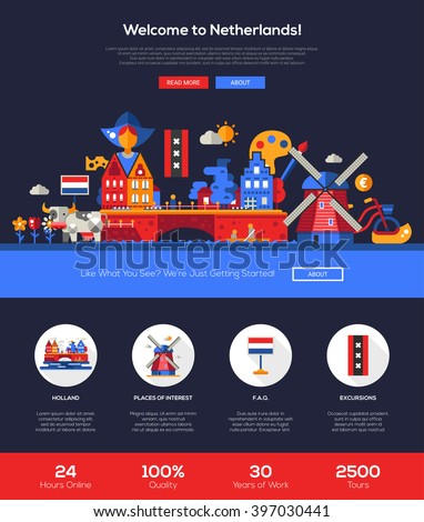 Welcome to Holland travel web site one page website template layout with flat header, banner, icons and other flat design web elements, famous Dutch symbols  - stock vector
