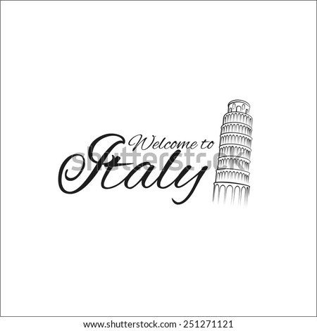 Welcome to Italy - stock vector