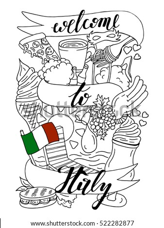 welcome italy banner doodle design coloring stock vector