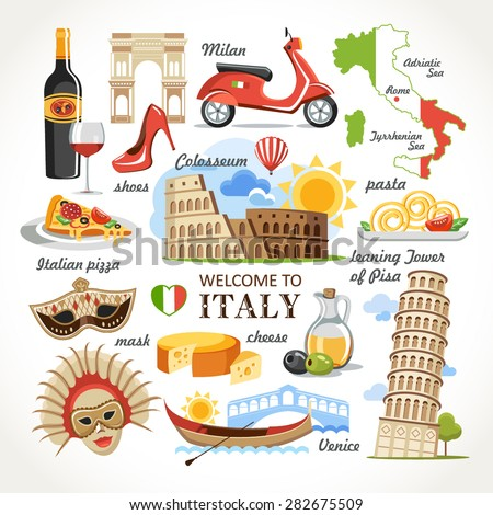 welcome to Italy symbols set - stock vector