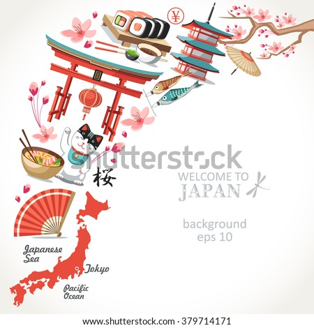 welcome to Japan background  - stock vector