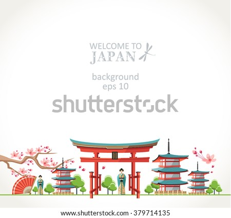 welcome to Japan background panorama - stock vector