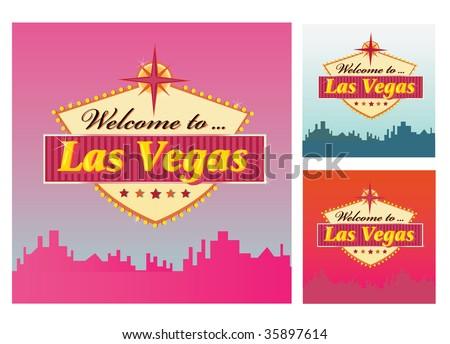 Welcome to Las Vegas. Las Vegas Welcome Sign in 3 color variants. Vector Illustration. - stock vector