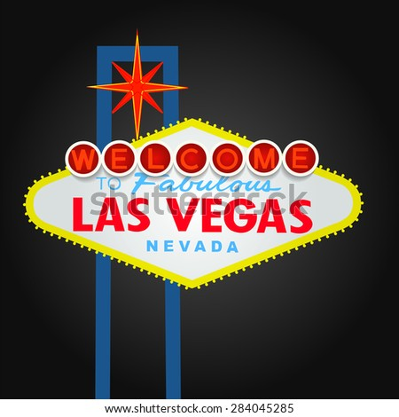 Welcome to Las Vegas Sign Vector With Dark Background