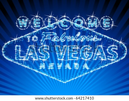 Welcome To Las Vegas stars shinning sign - stock vector