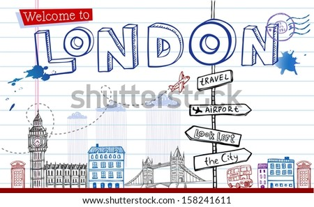 Welcome to London - greeting card  - stock vector