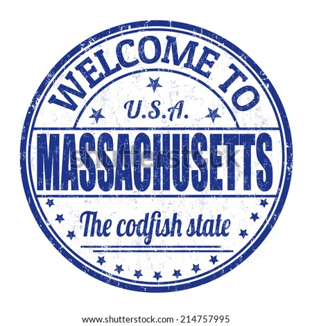 Welcome to Massachusetts grunge rubber stamp on white background, vector illustration