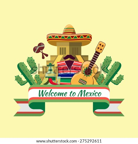 Welcome to mexico poster. Mexican food, cactus chili pepper. Vector illustration - stock vector