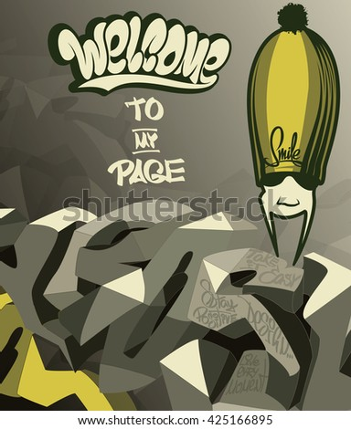 Welcome to my page lettering design - stock vector