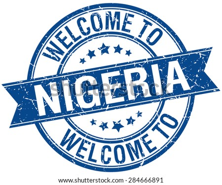 welcome to Nigeria blue round ribbon stamp