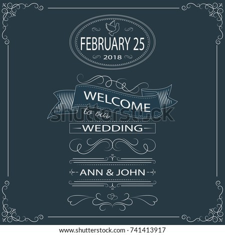 Welcome To Our Wedding Chalkboard Designed Vintage Card With Elegant Decoration Calligraphic Frame