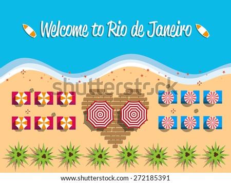 Welcome to Rio de Janeiro Brazil postcard flat design, beach view on top, vector illustration  - stock vector