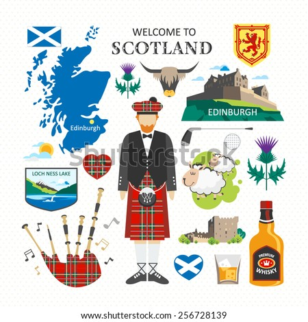 welcome to scotland travel collection - stock vector