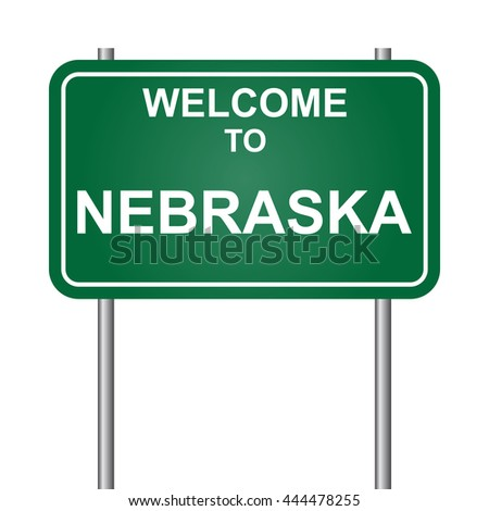 Welcome to State of Nebraska, green signal vector
