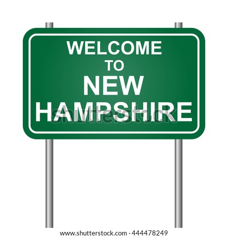 Welcome to State of New Hampshire, green signal vector - stock vector