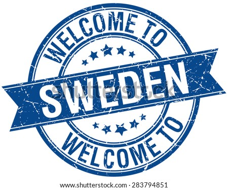 welcome to Sweden blue round ribbon stamp