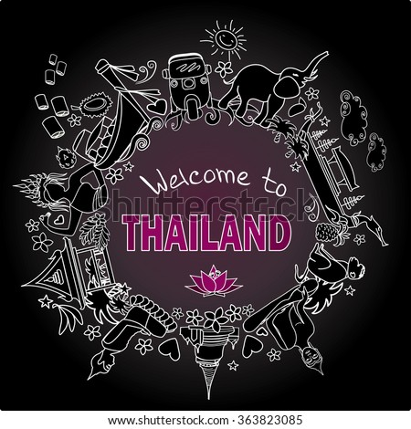 Welcome to Thailand . Set Thai color vector icons and symbols , vector illustration - stock vector