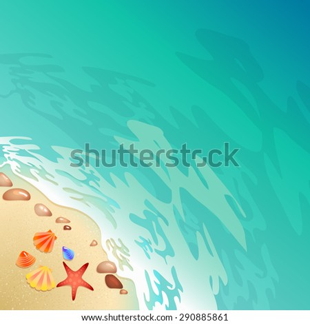 Welcome to the beach Calligraphy poster. Promo travel illustration. The strip of land along the sea coast with shells and seething foam. - stock vector
