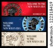 Welcome to the new Mayan age banner set. Vector illustration layered for easy manipulation and custom coloring. - stock photo