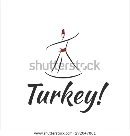 Welcome to Turkey dervishes dancing - stock vector