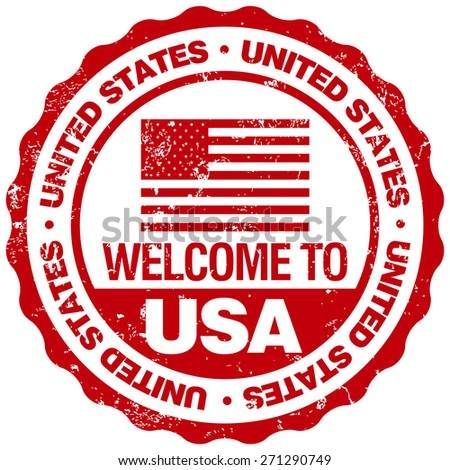 welcome to usa stamp - stock vector