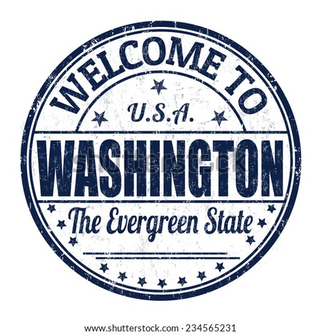 Welcome to Washington grunge rubber stamp on white background, vector illustration