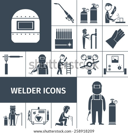 Welder decorative icons black set with worker equipment isolated vector illustration - stock vector