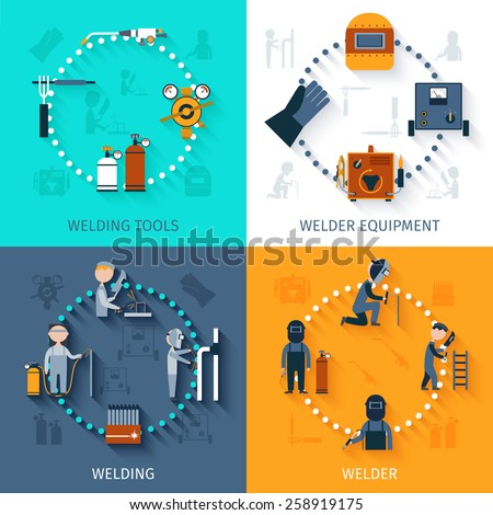 Welder design concept set with welding tools and equipment flat icons isolated vector illustration - stock vector