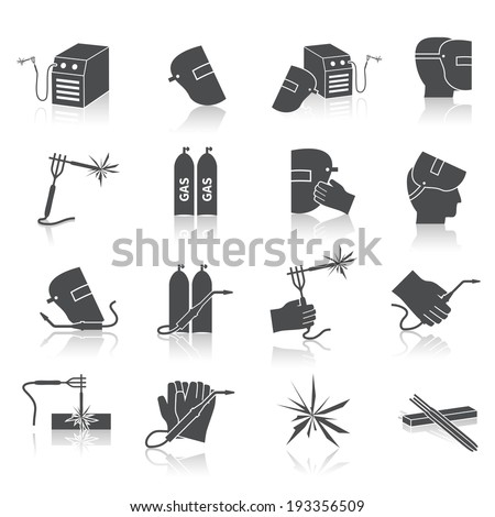 Welder industry construction work repair and manufacturing instruments black icons set isolated vector illustration - stock vector