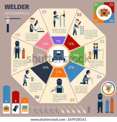 Welder infographics set with welding and workman symbols and charts vector illustration - stock vector