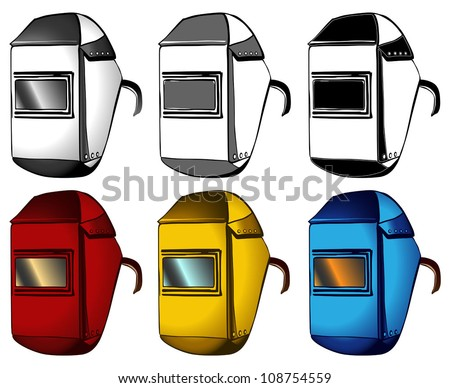 Welder, set of masks in different colors, vector illustration - stock vector