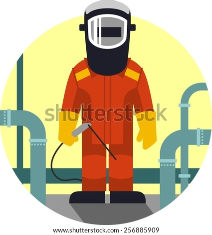 Welder worker man in protective mask in flat style - stock vector