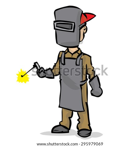 Welder. Yand drawn cartoon vector illustration.