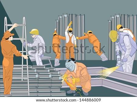 Welding Workers - stock vector