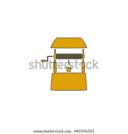 well Flat yellow thin line symbol on white background. Vector icon - stock vector