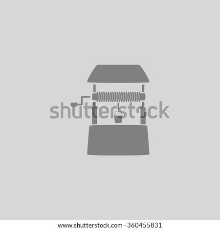 well - Grey flat icon on gray background - stock vector