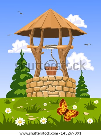 Well of fresh natural water - stock vector