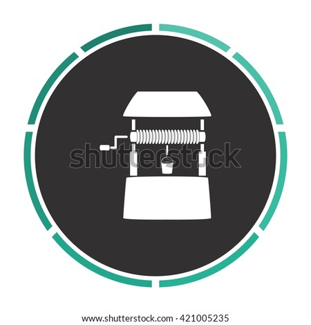 well Simple flat white vector pictogram on black circle. Illustration icon - stock vector
