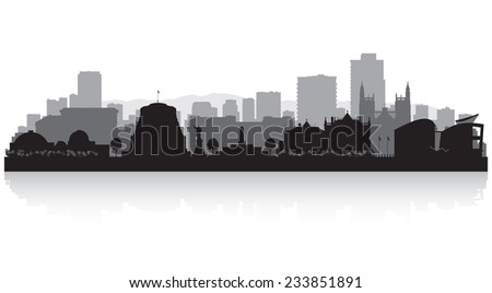 Wellington New Zealand city skyline vector silhouette illustration - stock vector