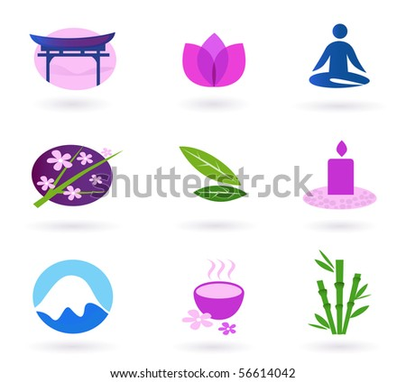 Wellness, asia, relaxation and spa icon set. Vector - stock vector