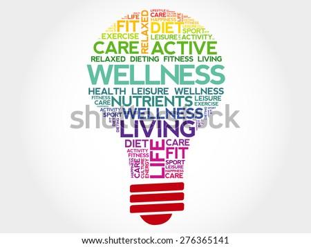 WELLNESS bulb word cloud, health concept - stock vector