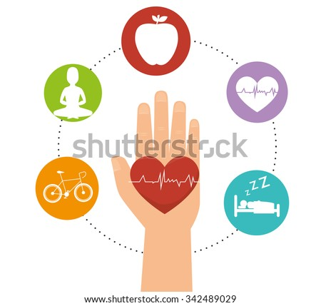 Wellness healthy lifestyle icons graphic design, vector illustration - stock vector