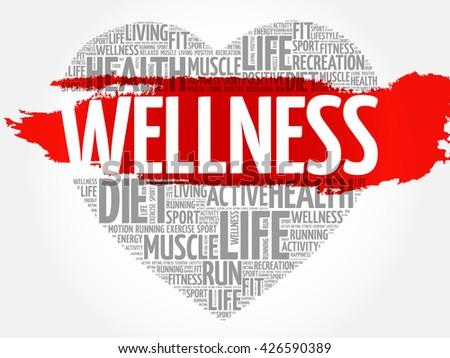 WELLNESS heart word cloud, fitness, sport, health concept - stock vector