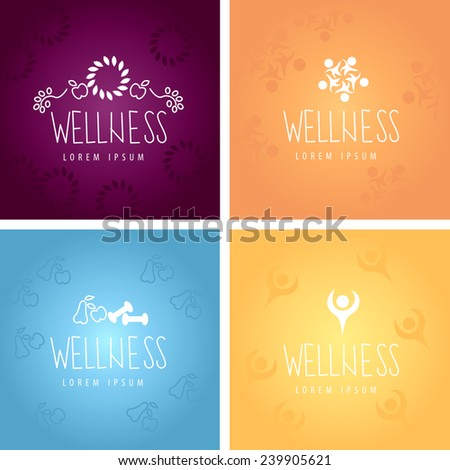 Wellness Icons And Backgrounds Set - Vector Illustration, Graphic Design, Editable For Your Design   - stock vector