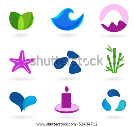 Wellness, relaxation and medical icons - blue and pink. Wellness, medical and relaxation icon set. Collection of 9 design elements inspired by water, nature, soul and meditation. - stock vector