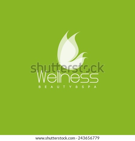 Wellness salon logo design vector template. White butterfly icon - stock vector