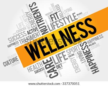 WELLNESS word cloud, fitness, sport, health concept - stock vector