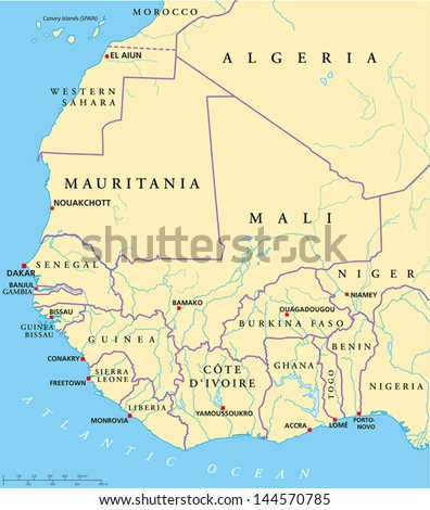 West Africa Map. Hand drawn map with capitals, national borders, rivers and lakes. With english labeling and scale. - stock vector